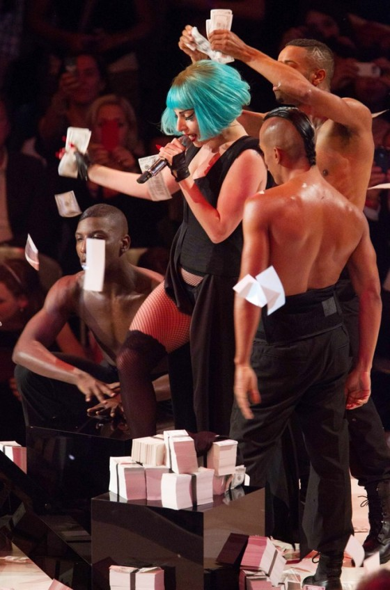 Lady Gaga performing in LeverCouture