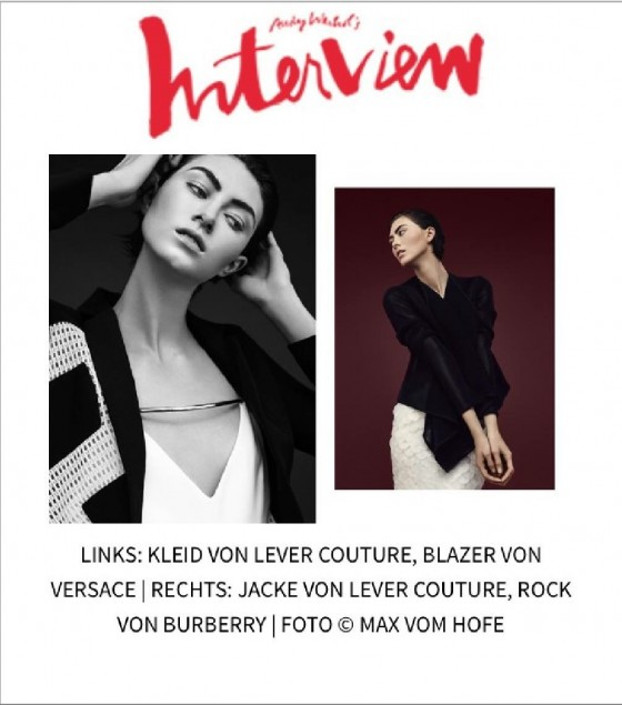 LEVER COUTURE featured in Interview Magazine